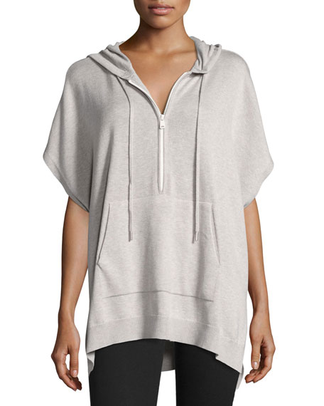 ATM Anthony Thomas Melillo Hooded Half-Zip Poncho, Gray