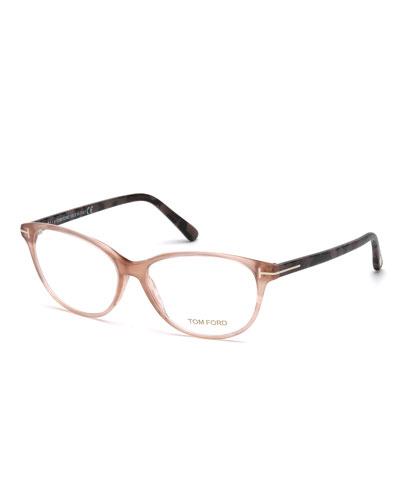 two tone cat eye optical frames rose