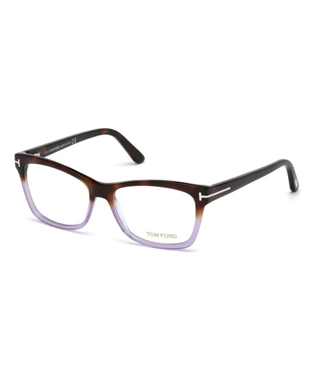 Square Two-Tone Optical Frames, Brown/Purple