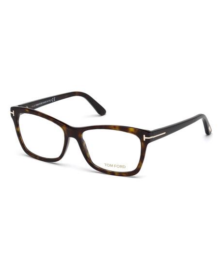 TOM FORD Square Optical Frames, Brown Havana