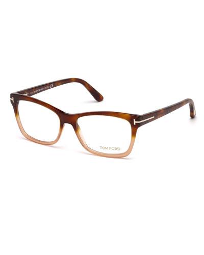square two tone optical frames brownorange