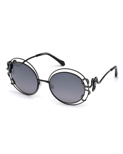 Round Open-Inset Snake Sunglasses, Black