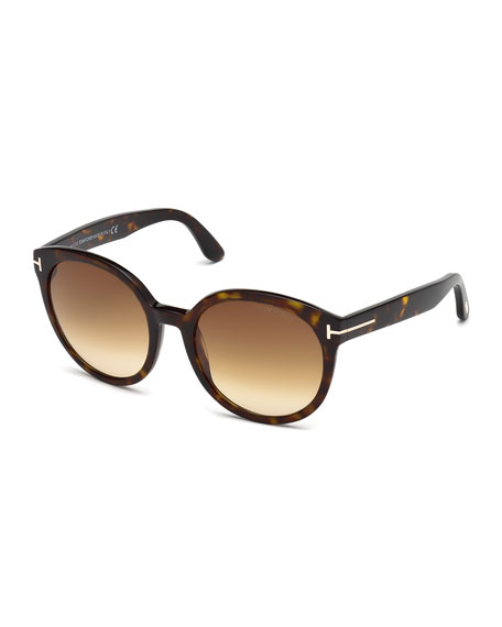 Philippa Round Cat-Eye Sunglasses, Havana
