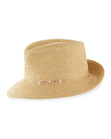 Mustique Squishee Packable Sun Fedora Hat, Beige
