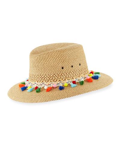 Bahia Squishee Packable Sun Fedora Hat, Beige