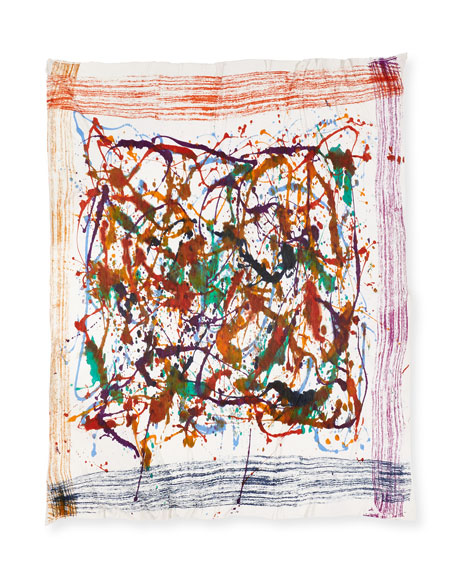 Locky Splatter-Print Scarf, Multicolor