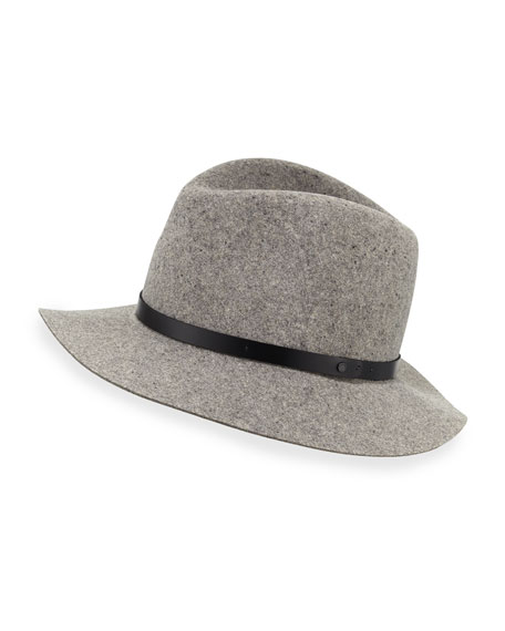 Wool Felt Floppy Brim Fedora, Oxford Gray