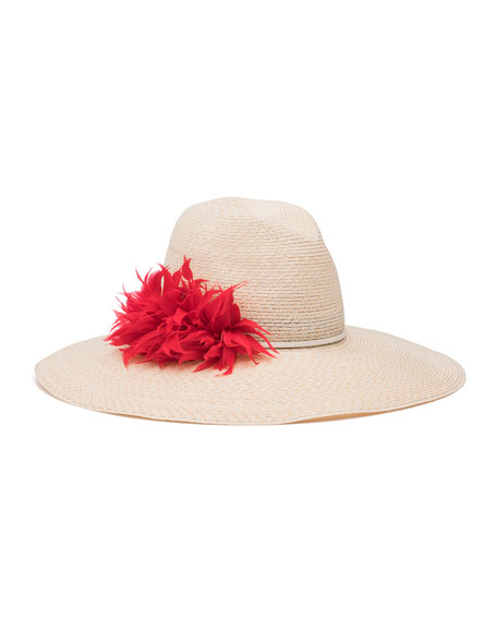 Eugenia Kim Carmen Feather-Trim Sun Hat, Ivory