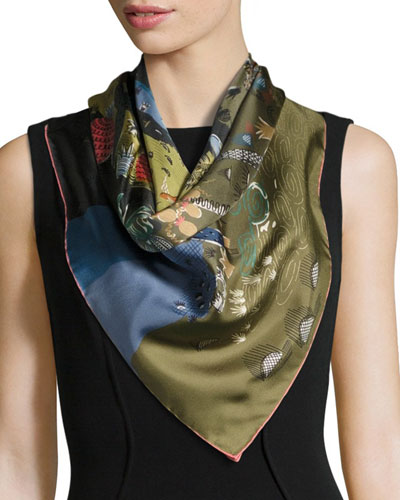 Garden of Delight Square Silk Scarf, Multicolor