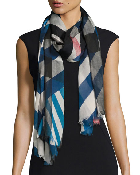 Burberry Multi-Stripe Sheer Voile Scarf, Blue/White