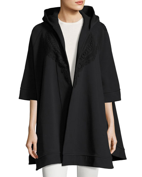 Burberry Lace-Trim Hooded Poncho, Black