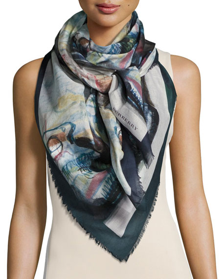 Burberry Henry Moore Abstract Figures Square Voile Scarf,