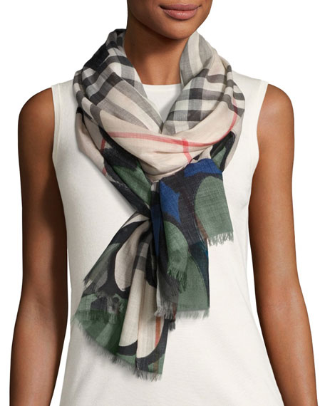 Burberry Scalloped Wool-Blend Check Scarf, Green