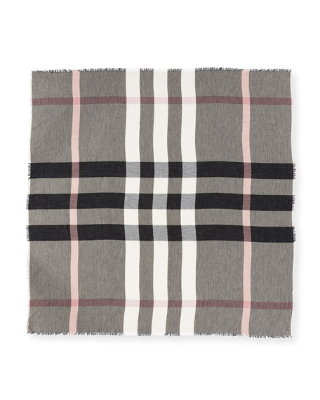 Relaxed Mega Check Scarf, Brown