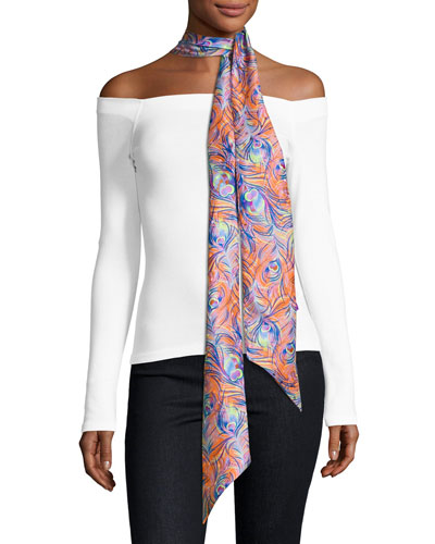 Pandora Skinny Silk Feather Scarf, Orange