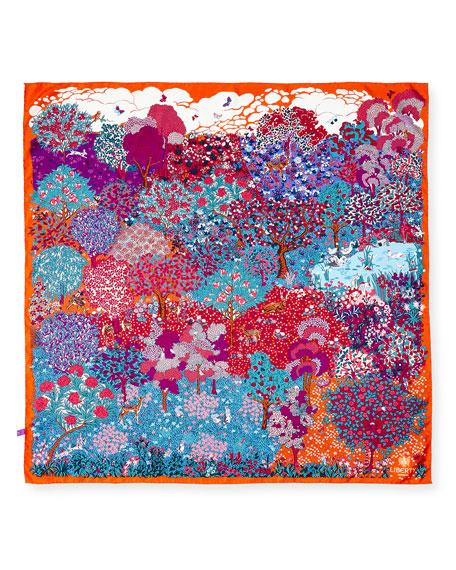 Daydream Square Silk Twill Greenery Scarf, Orange