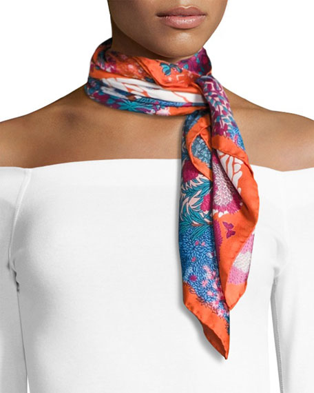 Liberty London Daydream Square Silk Twill Greenery Scarf,