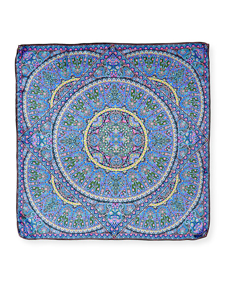 Andromeda Square Paisley Silk Satin Scarf