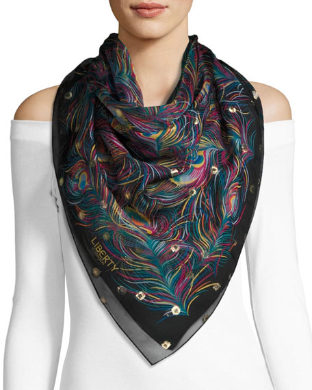 Liberty London Orion Silk Feather Scarf, Black