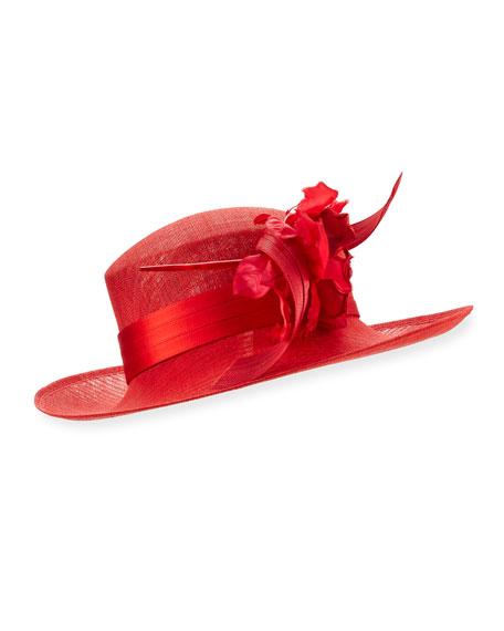 Rosette Upturn Straw Hat, Red