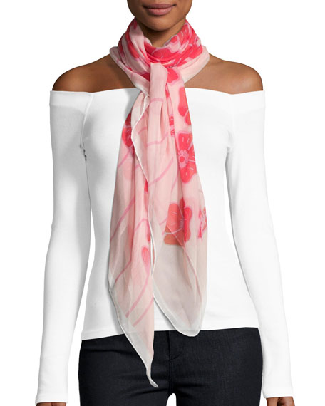 ANNA CORONEO SILK CHIFFON SQUARE POPPY SCARF, RED