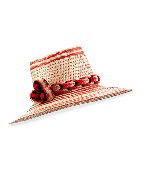 Guanabana Handmade Guajiro Patterned Mawisa Sun Hat, Red/Natural