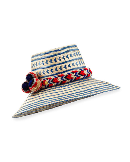 Guanabana Handmade Guajiro Patterned Mawisa Sun Hat, Blue/Natural