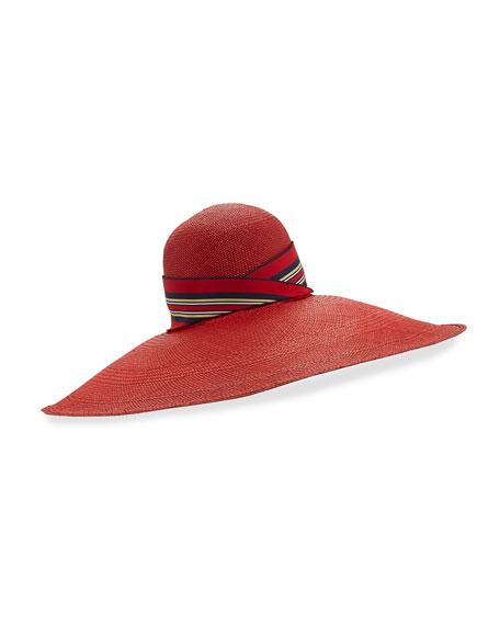 Super Toquilla Straw Sun Hat, Red
