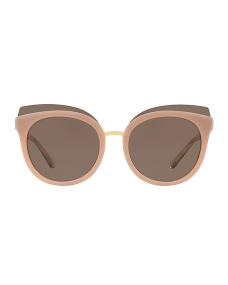 Monochromatic Cat-Eye Sunglasses, Blush