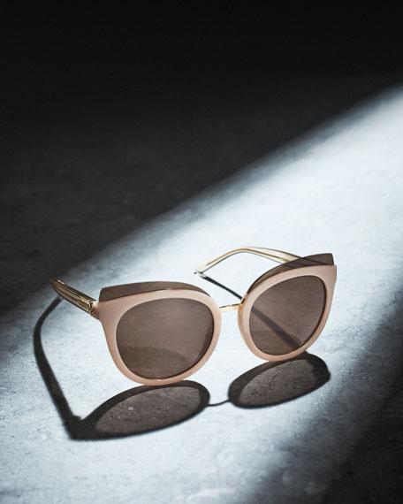 Monochromatic Cat-Eye Sunglasses, Blush