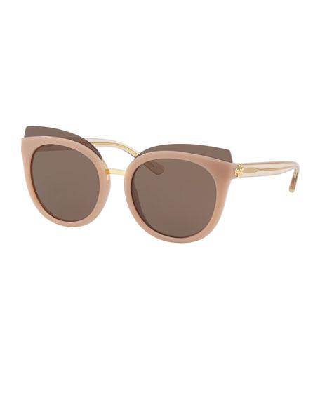 Tory Burch Monochromatic Cat-Eye Sunglasses, Blush