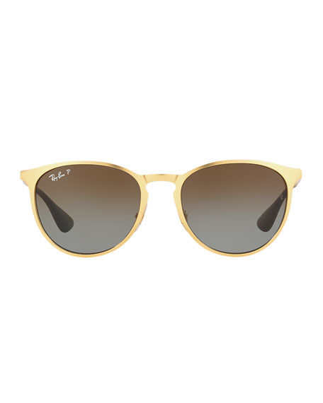 Erika Rounded Square Polarized Sunglasses, Gold
