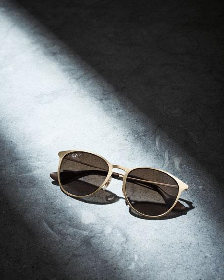 Erika Rounded Square Polarized Sunglasses, Gold