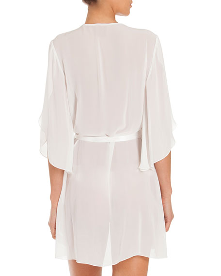 Summer Chiffon Short Wrap Robe, Ivory