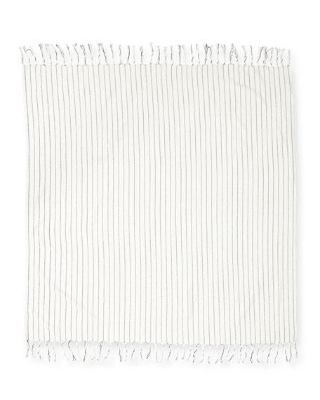 Striped Organic Cotton Square Scarf, Bone