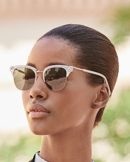 Burke Semi-Rimless Cat-Eye Sunglasses