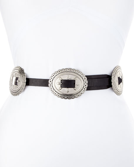 Flat Leather Belt w/ Conchos Harness Buckle