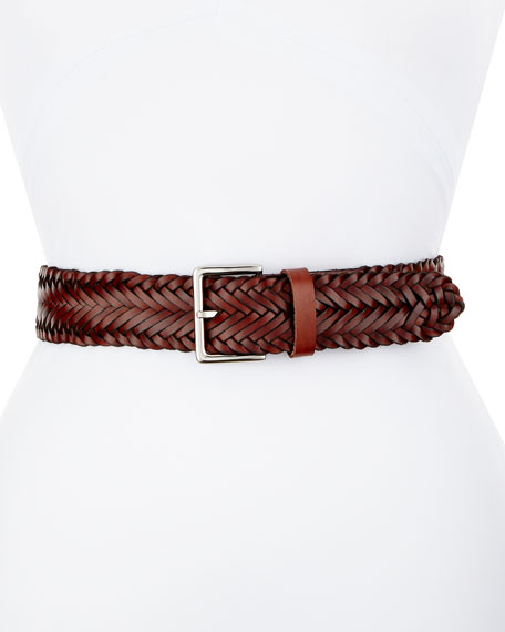 Wide Braided Leather Belt, Brown