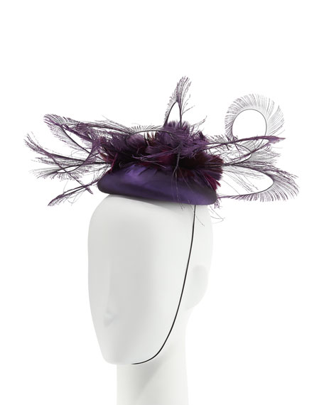 Silk Taffeta Feather Curl Pillbox Hat, Purple