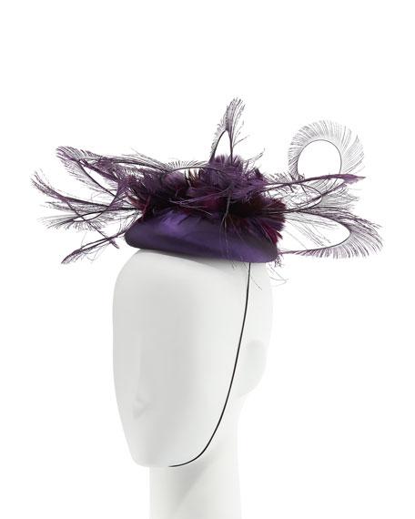 Silk Taffeta Feather Curl Pillbox Hat, Purple