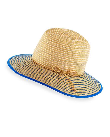 Lola Hats Starburst Raffia Short-Brim Sun Hat, White/Blue/Neutral