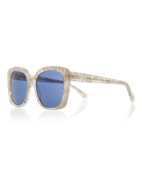 Monaco Printed Square Sunglasses, Pearl