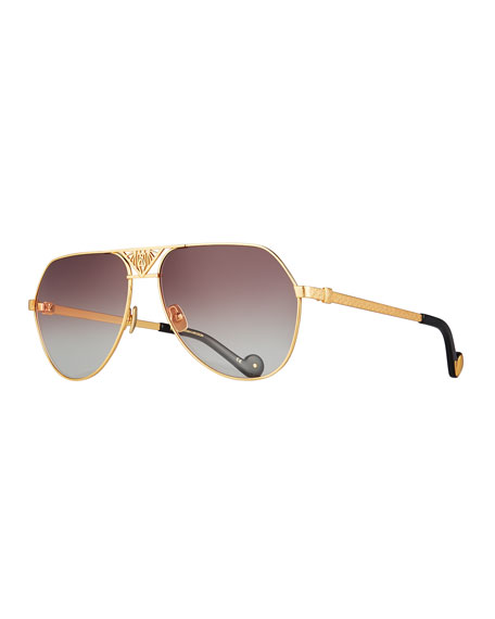Anna-Karin Karlsson The Art Deco Aviator Sunglasses, 24k