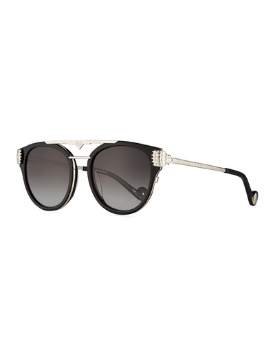 Paws Love Round Flat-Top Sunglasses  Black/Silver