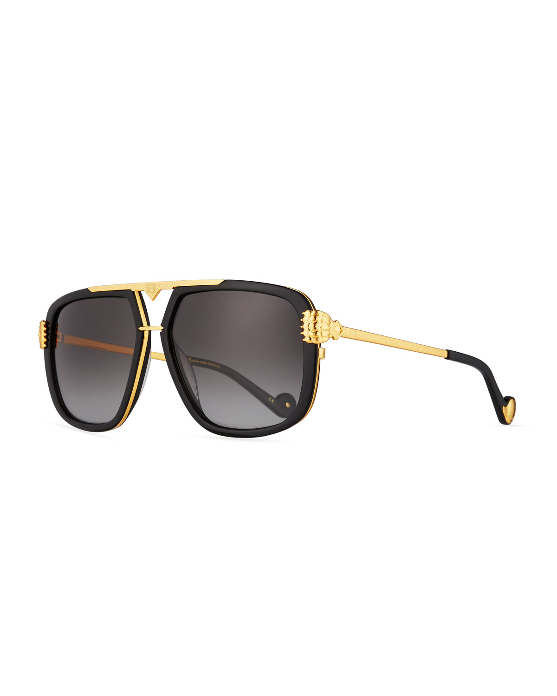 Unique Black Gold Sunglasses | Neiman Marcus MN21