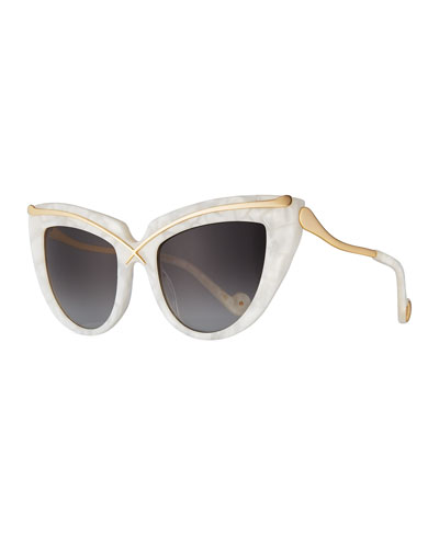 Lusciousness Cat-Eye Sunglasses, Pearl