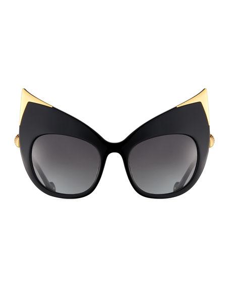 Billion Dollar Babes Ultra Cat-Eye Sunglasses, Black/Gold