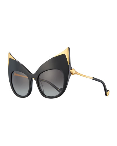 Billion Dollar Babes Ultra Cat-Eye Sunglasses, Black/Gold