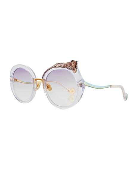 Anna-Karin Karlsson Rose et la Roue Round Sunglasses,