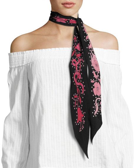 Desert Trip Super Skinny Silk Scarf, Black